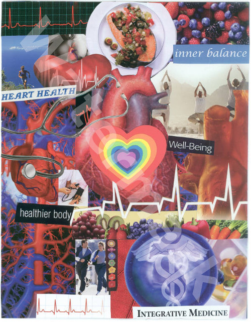 art collage poster called the biological heart by mary woods