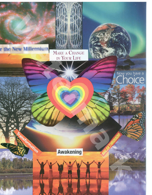 art collage poster called a change of heart by mary woods