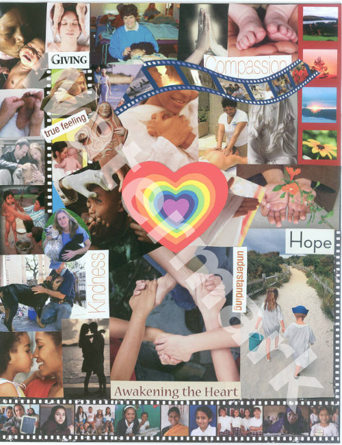 art collage poster called the compassionate heart by mary woods