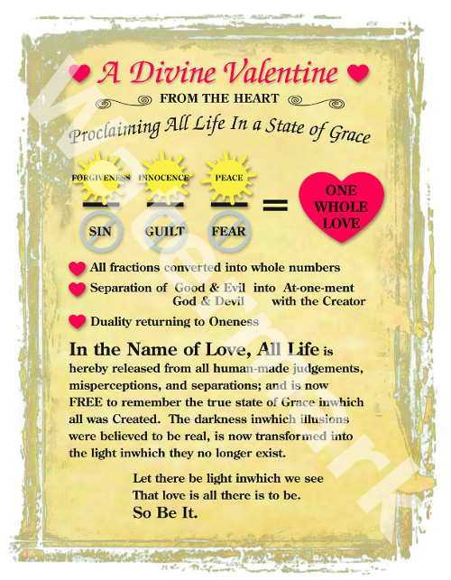 poetry poster called a divine valentine by mary woods