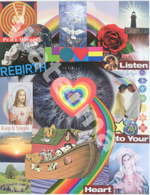 art collage poster called the heart of the matter by mary woods