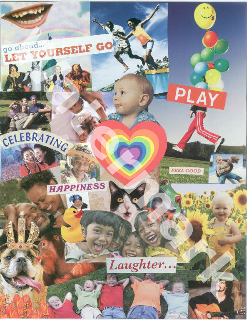art collage poster called the humor and the happy heart by mary woods