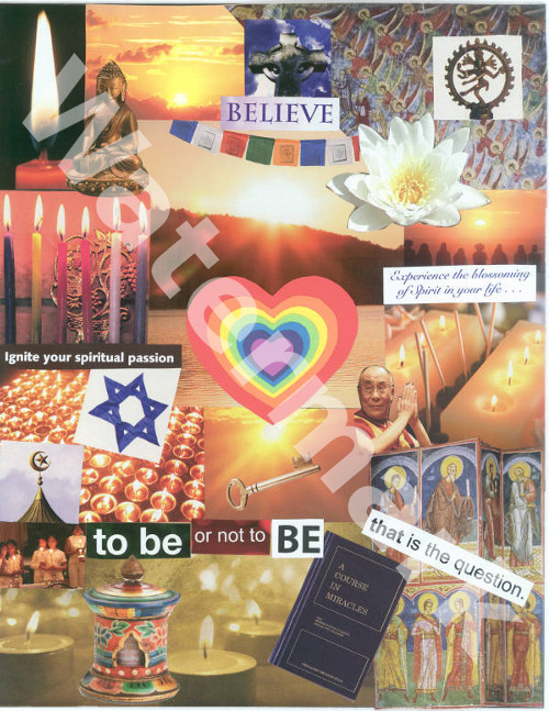 art collage poster called the spiritual heart by mary woods