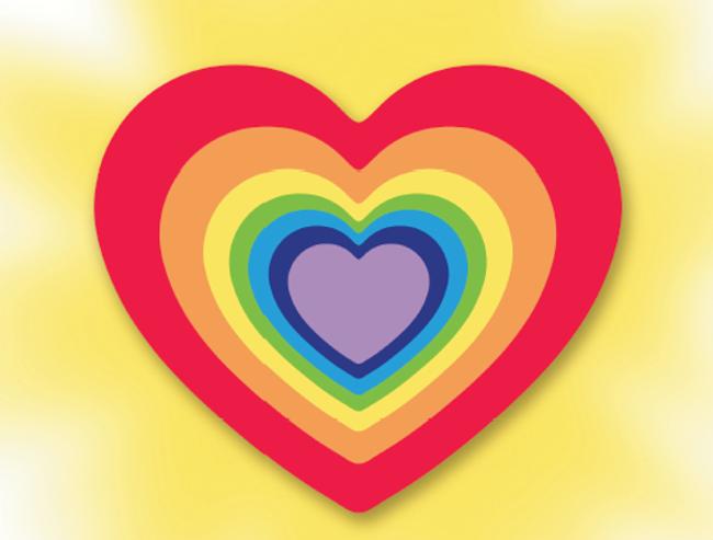Seven layer rainbow heart